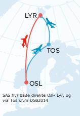 SAS har satt opp direktefly i forbindelse med festivalen. De flyr både direkte fra Oslo og fra Tromsø.