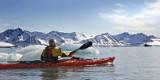 Kayakpadling i Isfjorden på Svalbard