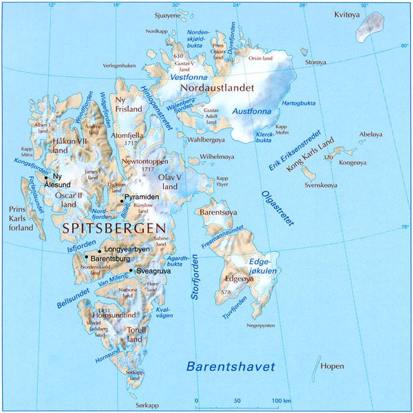 Svalbard kart, map. Svalbard består av øyene Spitsbergen, Nordaustlandet, Edgeøya, Barentsøya og Prins Karls Forland, Hopen, Bjørnøya