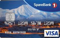 Visakort fra sparebank1 med bilde av Longyearbyen