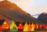 Spisshusene i Longyearbyen. Også kalt Indianerlandsbyen
